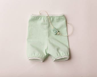 """Newborn Girl Shorts and headband set-  """"Lila"""" Mint green shorts with floral headband, baby girl, newborn outfit, photo prop"""