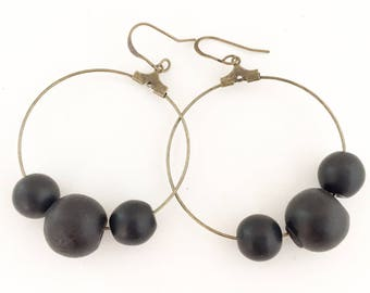 Bead Earrings, Bead Hoop Earrings, Black Bead Earrings.