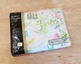 Vintage Pastel Floral Full Flat Sheet Pastel Sheet Double Flat Sheet Unused Flat Sheet JC Penney Sheet NOS Full Sheet Pastel Bedding
