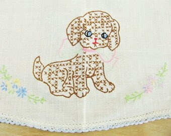 Vintage Bathroom Tank Cover Dresser Scarf Embroidered Child's Dresser Runner Nursery Runner Toilet Tank Cover Embroidered Dog