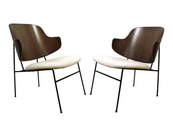 Pair of Mid-Century Danish Modern IB Kofod Larsen Penguin Walnut/Leather Chairs