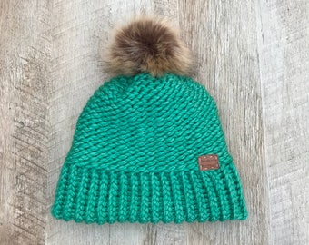 Child Knit Beanie with Faux Fur Pompom in Spearmint | Ages 10+