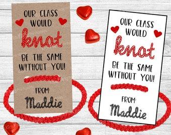 Friendship Bracelet Valentines Card PRINTABLE, Knot Valentine, Valentine Kids Card for Teacher, Class School Classroom Girls Non Candy Free