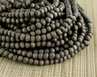 4-5mm Dark Gray Round Wood Beads - Dyed and Waxed - 15 inch strand