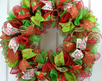 Christmas wreath - Christmas door wreath - Christmas mesh wreath - Christmas wreath for front door - Red and Lime Green wreath