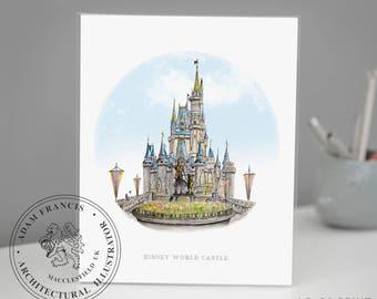 Disney World Castle Art Print | Taken from my detailed pen drawing & watercolour painting. Cinderella's Disney Castle, Magic Kingdom drawing