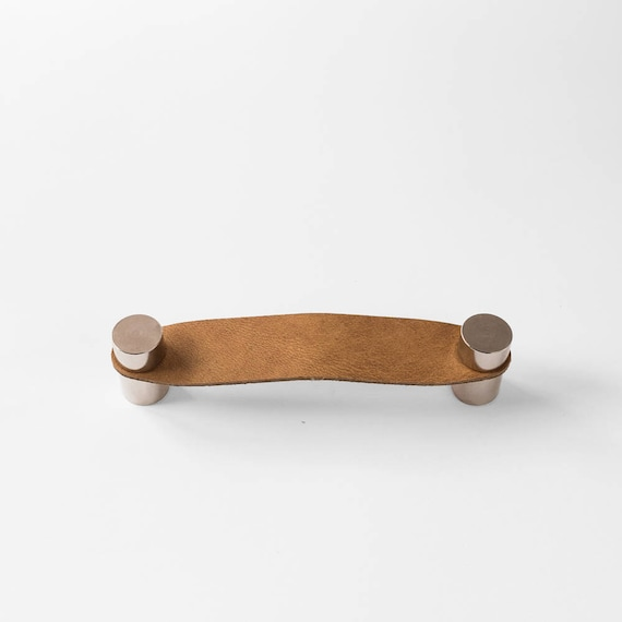 Cassidy Handle - Nickel Plated + Tan Leather
