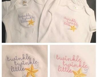 Monogrammed Twinkle Twinkle Little Star Baby Gown
