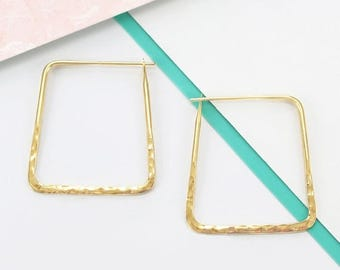 ON SALE NOW Gold Hoop Earrings, Geometric Earrings, Hoop Earrings, Statement Earrings, Everyday Earrings, Hammered Earrings, Square Earrings