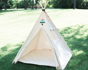 Tribal Teepee with Window, Boho Tent, Kids Play Tepee, Kids Tee Pee, Playhouse, Ready to Ship Fully Assembled, ONE PIECE POLES