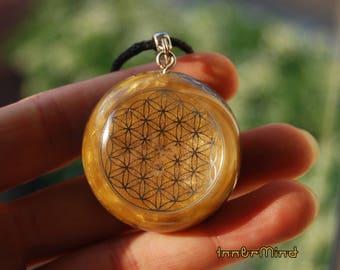 SALE ! Flower of Life Sacred Geometry Orgone Orgonite® Pendant Necklace Rhodizite Black Tourmaline Citrine Pyrite