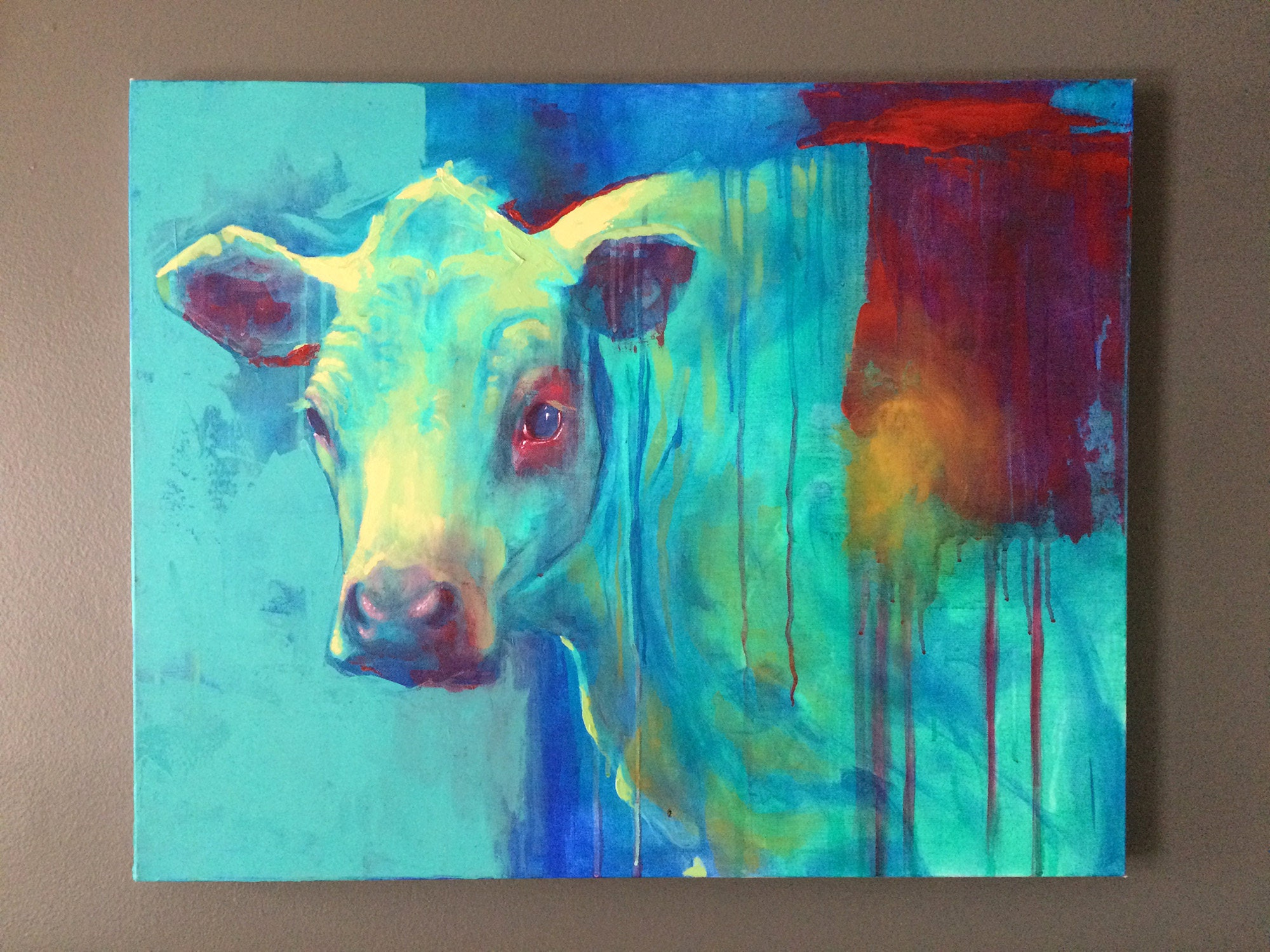 "ORIGINAL Painting ""Blue Cow"""