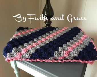 Toddler Afghan - Baby Afghan - Ready To Ship Afghan - Coral Navy Gray- Baby Blanket - Crochet Afghan - Crochet Blanket - Girl Afghan