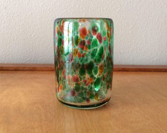 Glass Tealight Holder - Green and Red