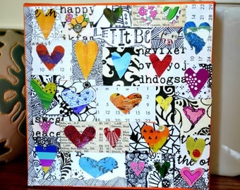 "Let It Be Canvas. 6""x6""x1.5"" mini canvas collage"