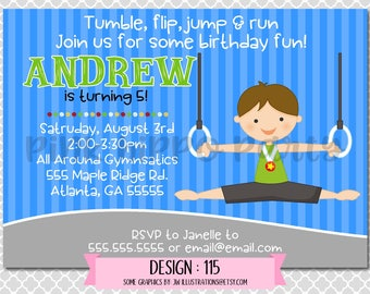 Gymnastics Rings Boy, Tumble:Design #115-Children's Birthday Invitation, Personalized, Digital, Printable, 4x6 or 5x7 JPG