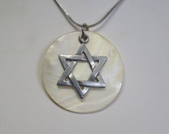 Star of David pendant with Mother of Pearl background  CCS166
