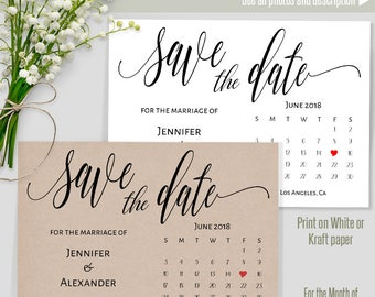 JUNE 2018 Save the Date, Printable Wedding template, Save the date card, Instant download self editable PDF S206