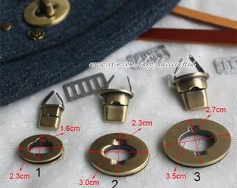 2set 2.3x1.6cm 3x2.3cm 3.5x2.7cm Brushed Brass Purse Twist Lock Closure Oval Turn Lock Bag Fastener Bag Twist Lock Bag Turn Lock