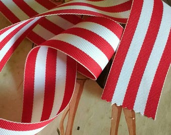 """Red Striped Ribbon, Classic Red and White Christmas Grosgrain Ribbon 1.5"""""""