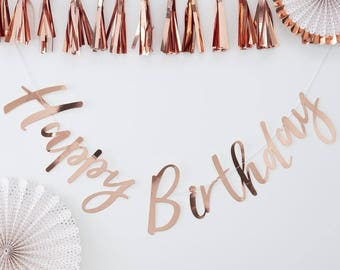 Rose Gold Foiled Happy Birthday Bunting
