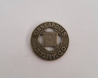 Vintage 1920-1929 Minneapolis St. Ry. Co Good For One Fare, E A Crosby, streetcar, trolley or railway token. 11/16""