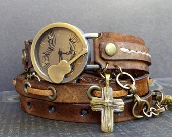 Guitar watch, Brown leather watch, Bracelet Watch, Women's watch, Mucisians gift