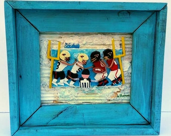 Football Players by Anthony Thomas Original 3D Mixed Media football Art Painting Gift Football Reclaimed Wood Frame
