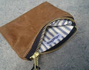 Coin Purse // Wallet // Small zipped Pouch, Gold Sand Waxed Canvas