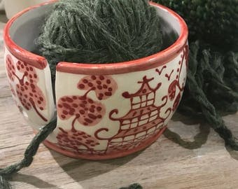 Chinoiserie Yarn Bowl Christmas Red  special Editon ***copywrited design
