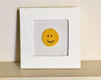 Framed Punch Needle Emoji Smile
