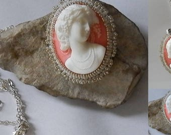 Cameo pendant set White Pearl and silver