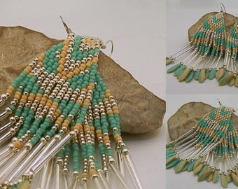 Woven earrings turquoise, beige and silver