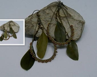 Woven khaki and bronze feather earrings
