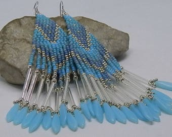 Earrings woven Native American blue and silver