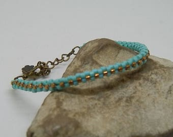 Turquoise and bronze hand-woven bracelet