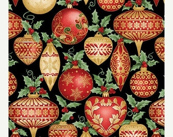 Summer Sale- A festive Season~Ornaments Black ~Christmas Cotton Fabric by~Benartex~Fast Shipping HC444