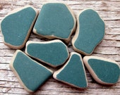 7 Pc Authentic Beach Pottery | Genuine Sea Pottery | Dark Green Beach Pottery | Mosaic Tile | Surf Tumbled | Green Ceramic Tile | Craft Tile