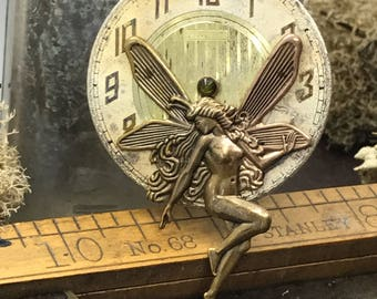 Steampunk fairy necklace vintage pocket watch dial handcrafted artistic jewelry -The Victorian Magpie