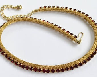Elegant, Red Rhinestone & Gold Mesh Choker Necklace