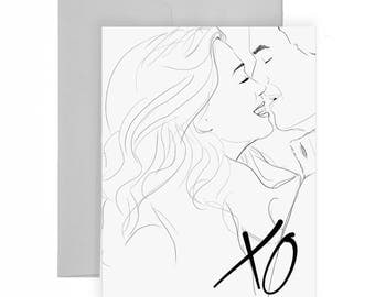 Love XO - Greeting Card, Illustration, Fashion Illustration, Love Card, Wedding, Anniversary, Engagement,