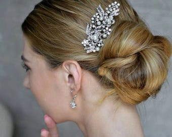 Silver and Pearl Vintage Style Bridal Hair Comb Crystal Hair Comb Bridesmaid Wedding Grecian Vine
