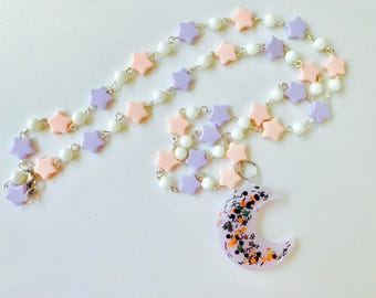 Halloween Witch Pastel Goth Kawaii Hand Beaded Necklace