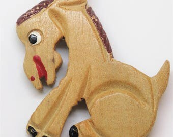 1940s Carved Wooden Painted Figural Donkey Brooch Large Donkey Brooch