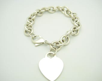 Tiffany & Co. Sterling Silver Heart Tag Chain Link Bracelet 7 1/2
