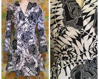 60s 70s Vintage Psychedelic Mini Dress Medium Large