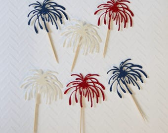 4th Of July cupcake toppers; Firework cupcake toppers; Fireworks; Independence day