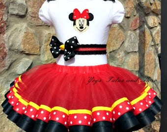 Minnie Mouse Birthday Tutu Set ~  Ribbon Trim Tutu & Hair Bow ~  Red and Black. Customize in Any Colors of Your Preference