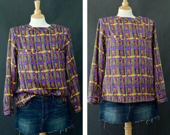 Vintage Button Up Blouse, Multi Color Tribal Blouse, Long Sleeve Shirt, Secretary Blouse, 80s Designer Blouse, Long Sleeve Pattern Blouse