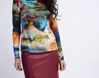 Printed sweater Turtleneck fluid viscose ethnic